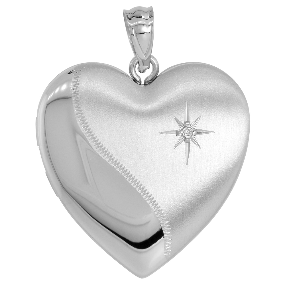 Sterling Silver Diamond Heart Locket / Urn Necklace 1 Picture 1 inch