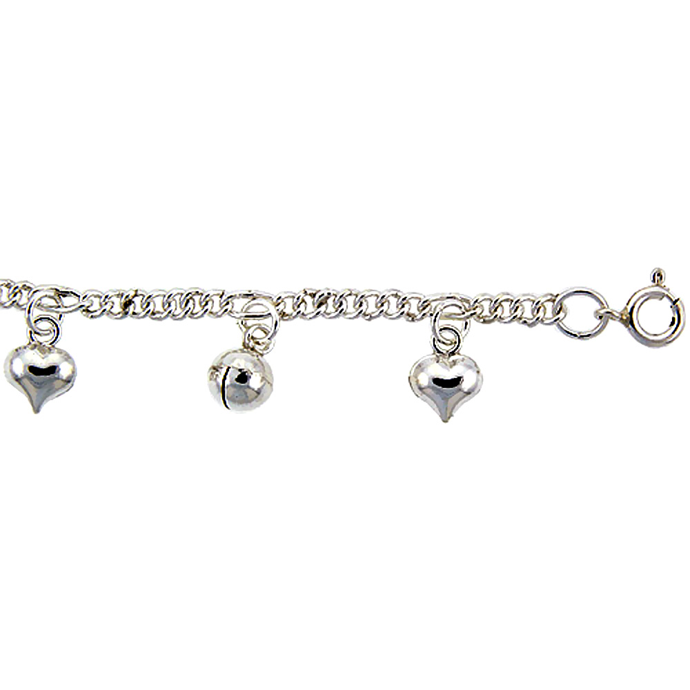 Sterling Silver Anklet with Hearts and Bells, fits 9 - 10 inch ankles