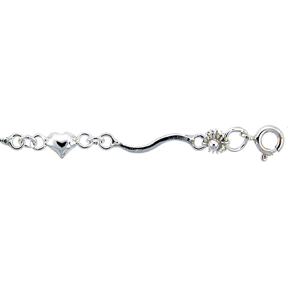 Sterling Silver Anklet with Hearts and Flowers, fits 9 - 10 inch ankles
