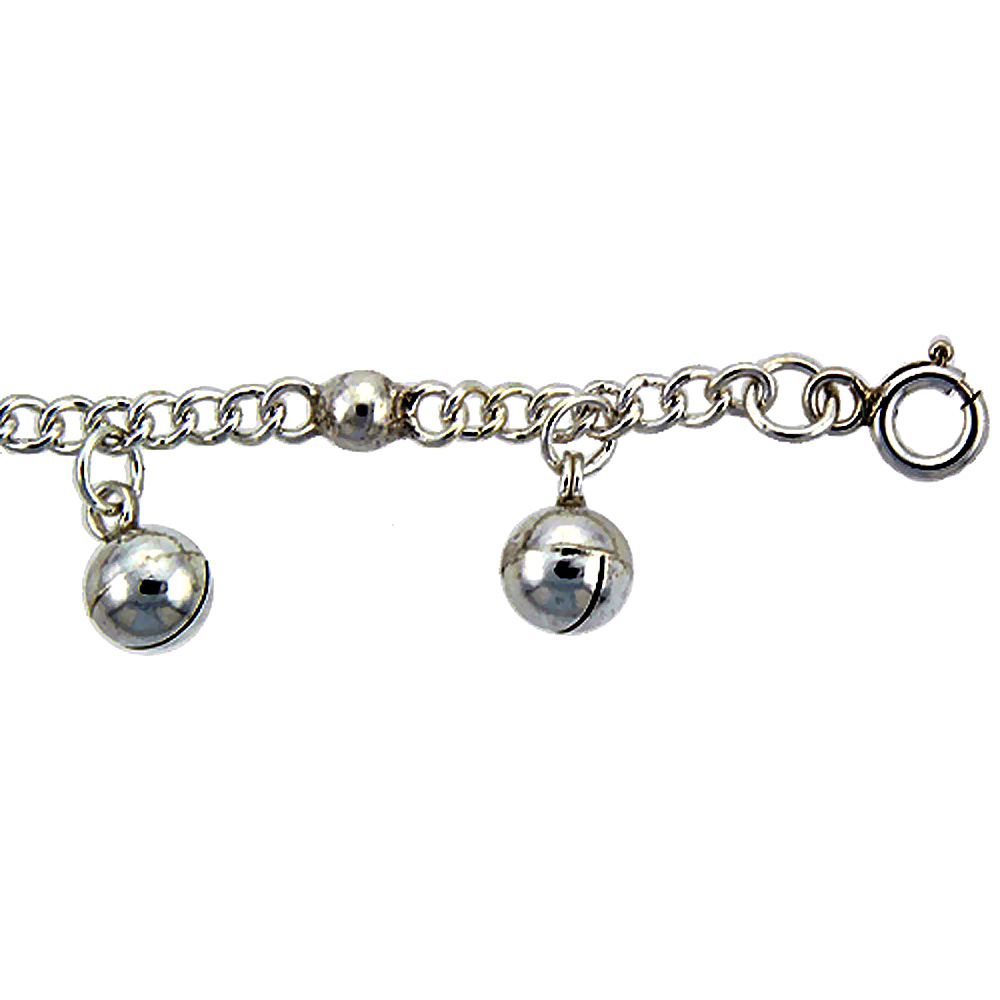 Sterling Silver Curb Link Anklet with Beads & Bells, fits 9 - 10 inch ankles