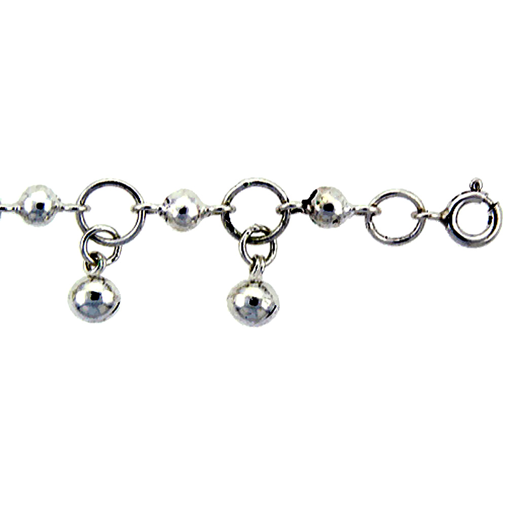 Sterling Silver Circle Link Anklet with Beads & Bells, fits 9 - 10 inch ankles