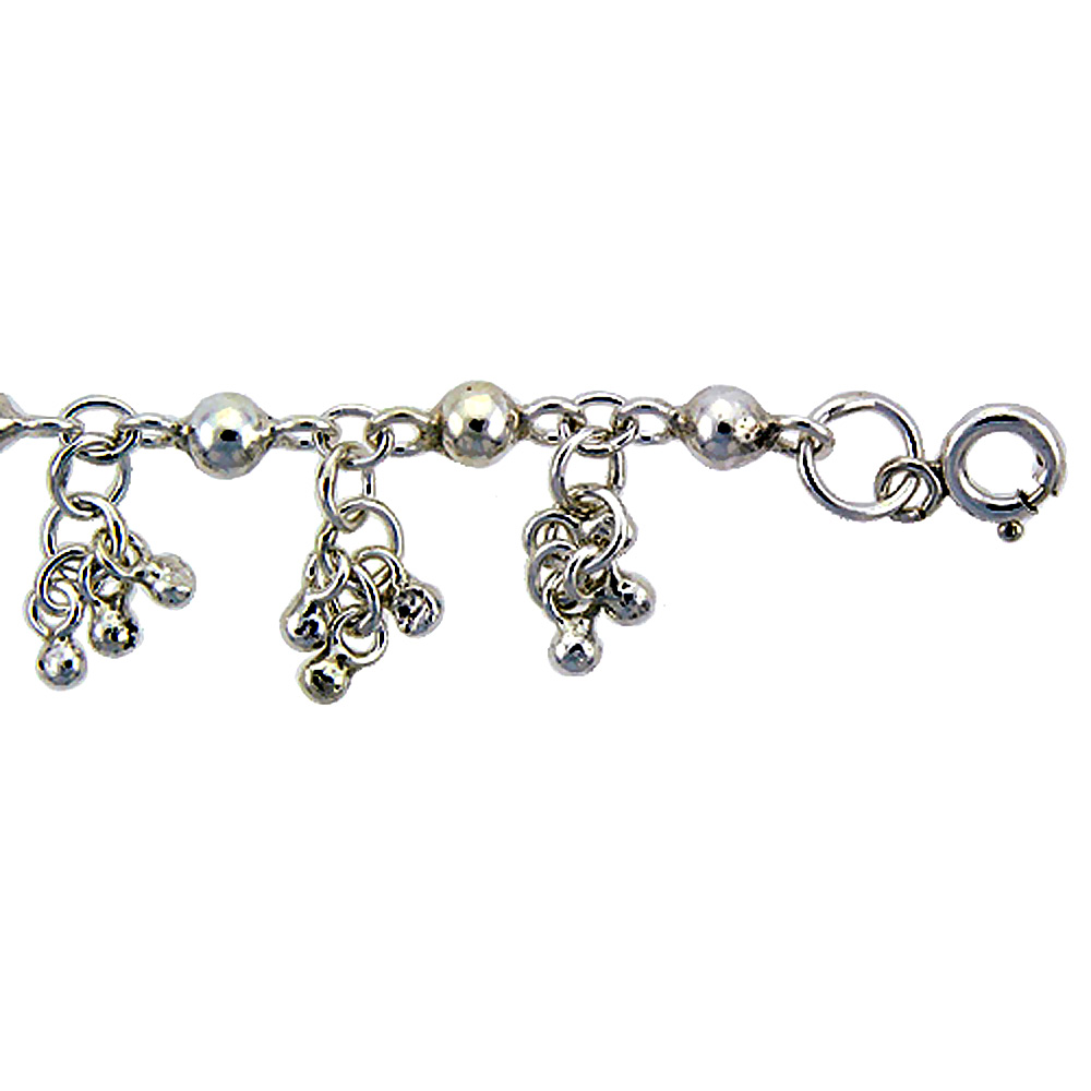 Sterling Silver Anklet with Beads, fits 9 - 10 inch ankles