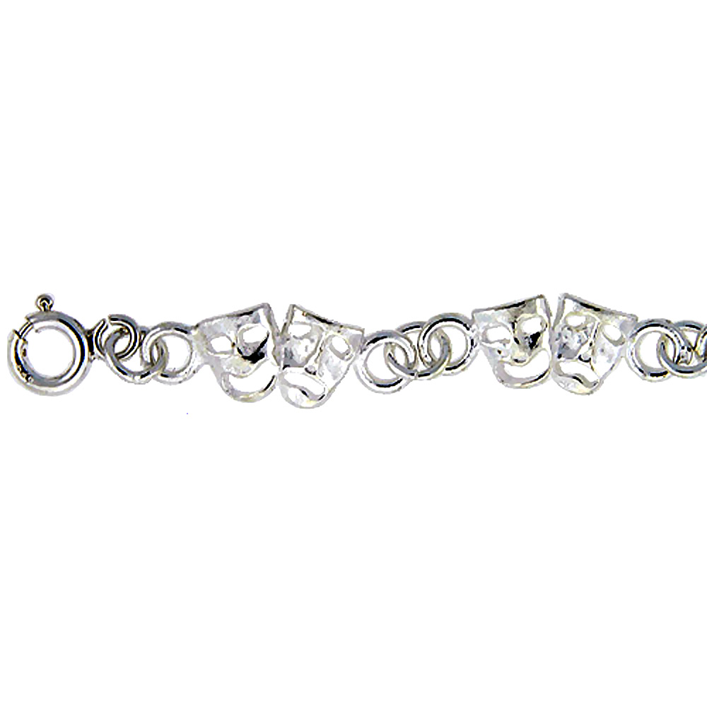 Sterling Silver Anklet with Comedy & Tragedy Drama Masks, fits 9 - 10 inch ankles