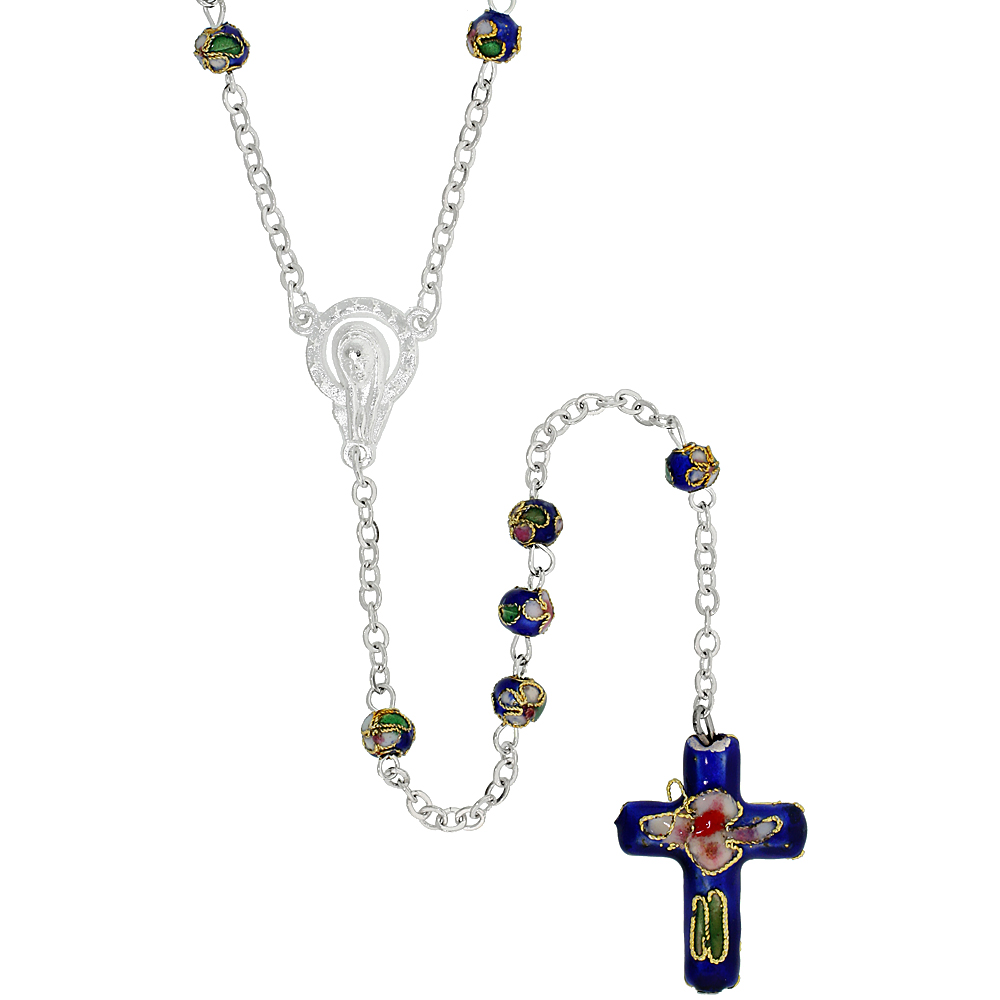 Cloisonne Rosary Necklace Navy Blue Color 5 mm Beads, 30 inch