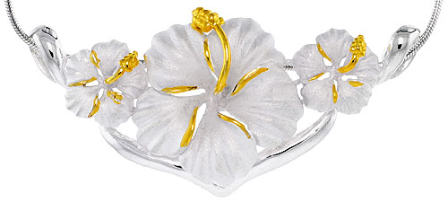 Hawaiian Theme Sterling Silver 2-Tone Triple Hibiscus Flower, Slider Pendant, 2 1/8 (54 mm) wide