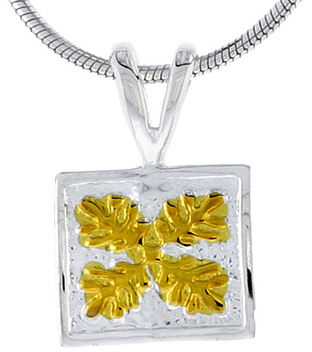 Hawaiian Theme Sterling Silver 2-Tone Flower Pendant, 3/8 (10 mm) tall
