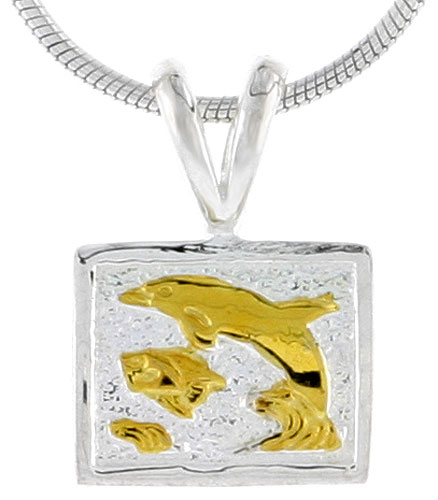 Hawaiian Theme Sterling Silver 2-Tone Dolphins in Square Pendant, 3/8 (10 mm) tall