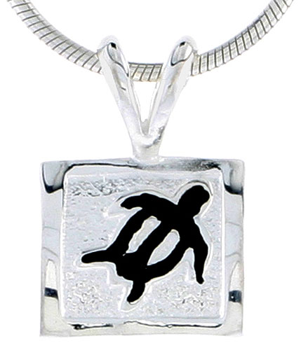 Hawaiian Theme Sterling Silver Black Enamel Sea Turtle Pendant, 3/8 (10 mm) tall