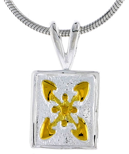 Hawaiian Theme Sterling Silver 2-Tone Flower Pendant, 1/2 (12 mm) tall