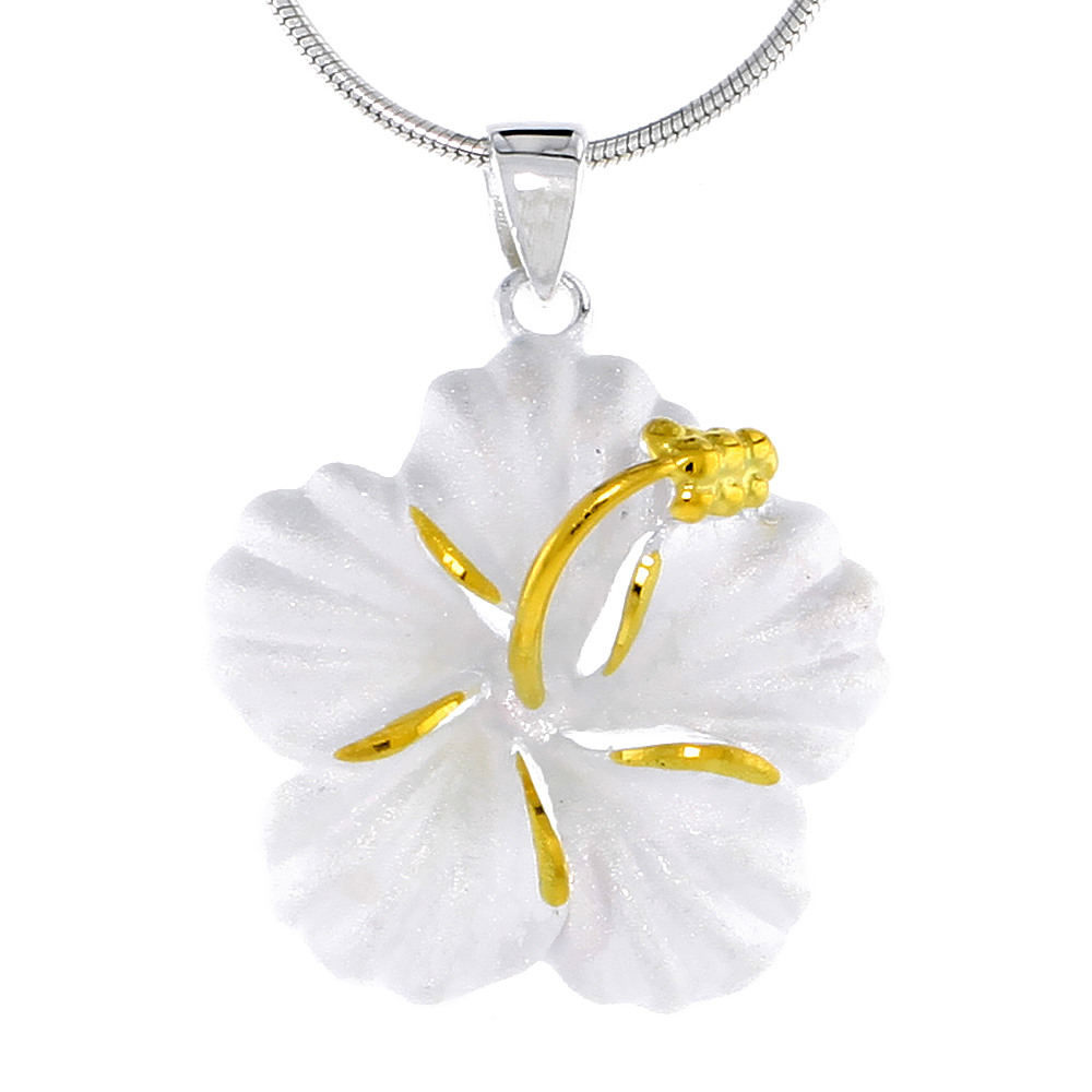 Hawaiian Theme Sterling Silver 2-Tone Hibiscus Flower Pendant, 1 (26 mm) tall