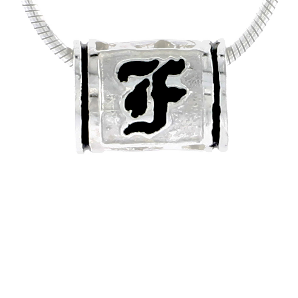 Sterling Silver Hawaiian Charm Bead Initial F Charm Bracelet Compatible, 1/2 inch wide