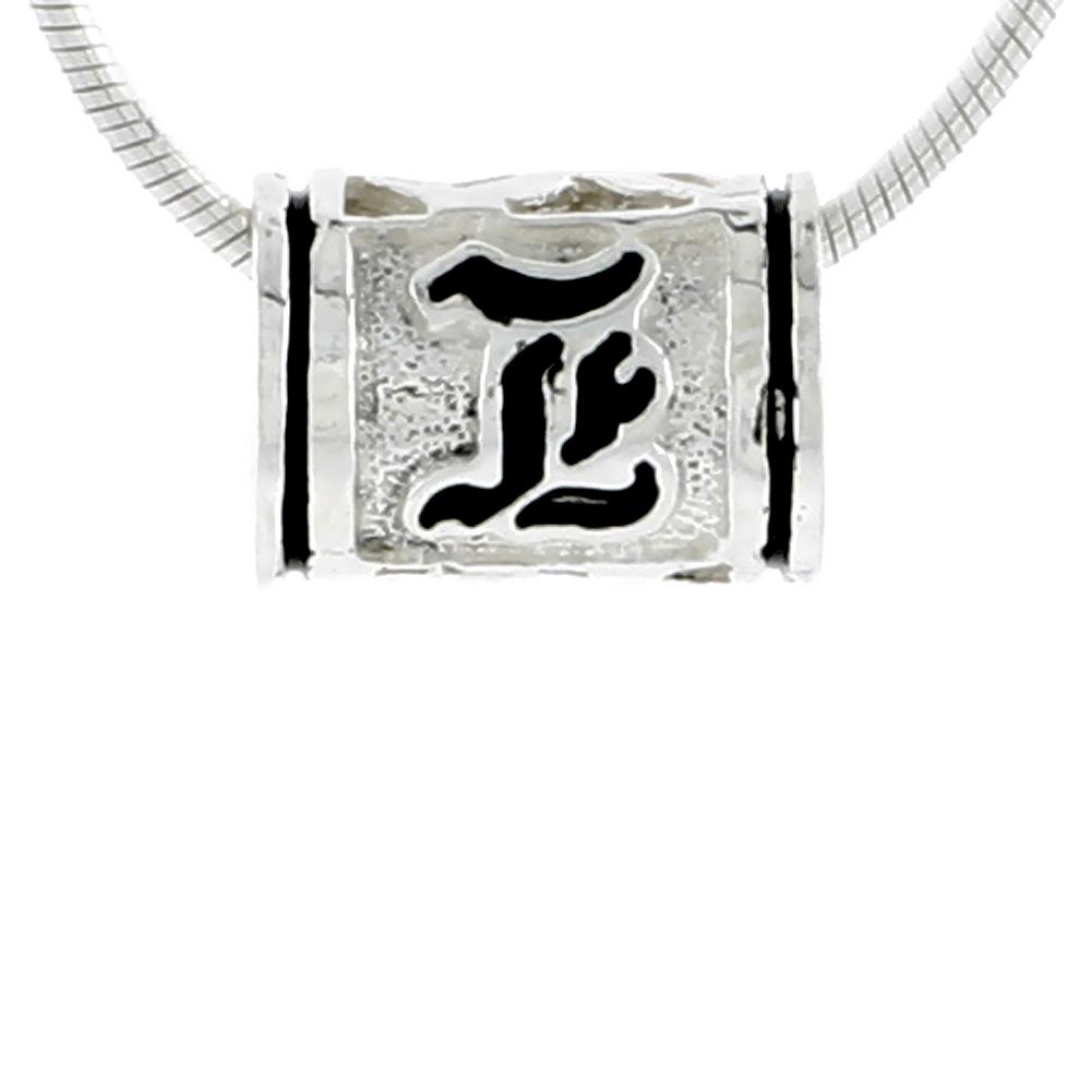 Sterling Silver Hawaiian Charm Bead Initial L Charm Bracelet Compatible, 1/2 inch wide