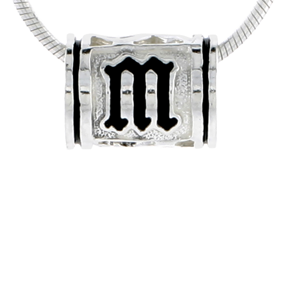 Sterling Silver Hawaiian Charm Bead Initial M Charm Bracelet Compatible, 1/2 inch wide