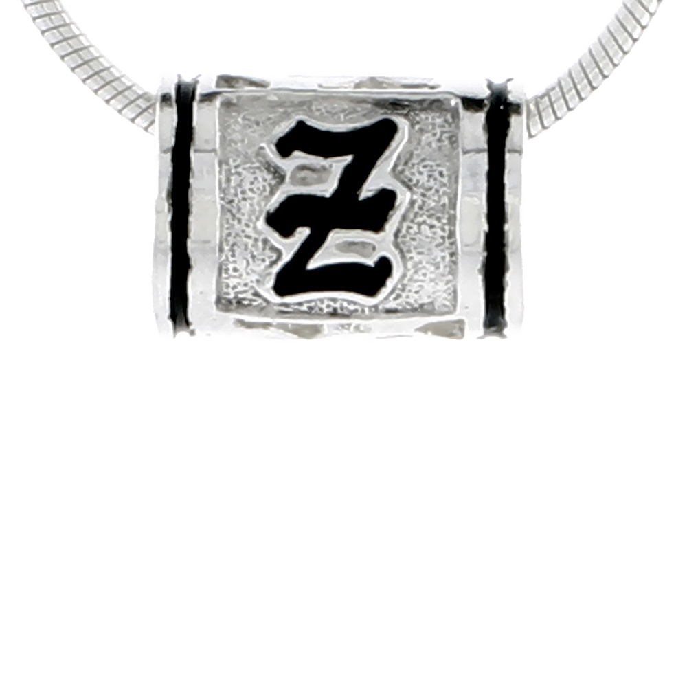 Sterling Silver Hawaiian Charm Bead Initial Z Charm Bracelet Compatible, 1/2 inch wide