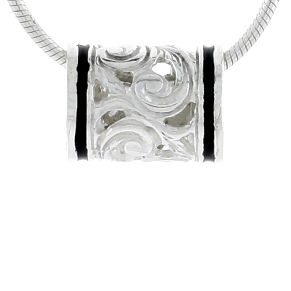 Hawaiian Theme Sterling Silver Black Enamel, Barrel Bead Pendant, 3/8 (10 mm) wide