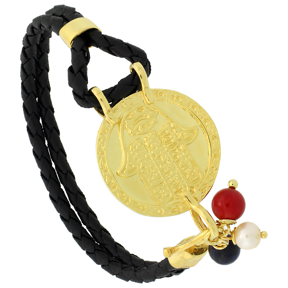 Sterling Silver Islamic HAND OF FATIMA Gold Plated Black Braided Leather Bracelet Tri-colored Beads, 15/16 inch diameter, 7.25 i