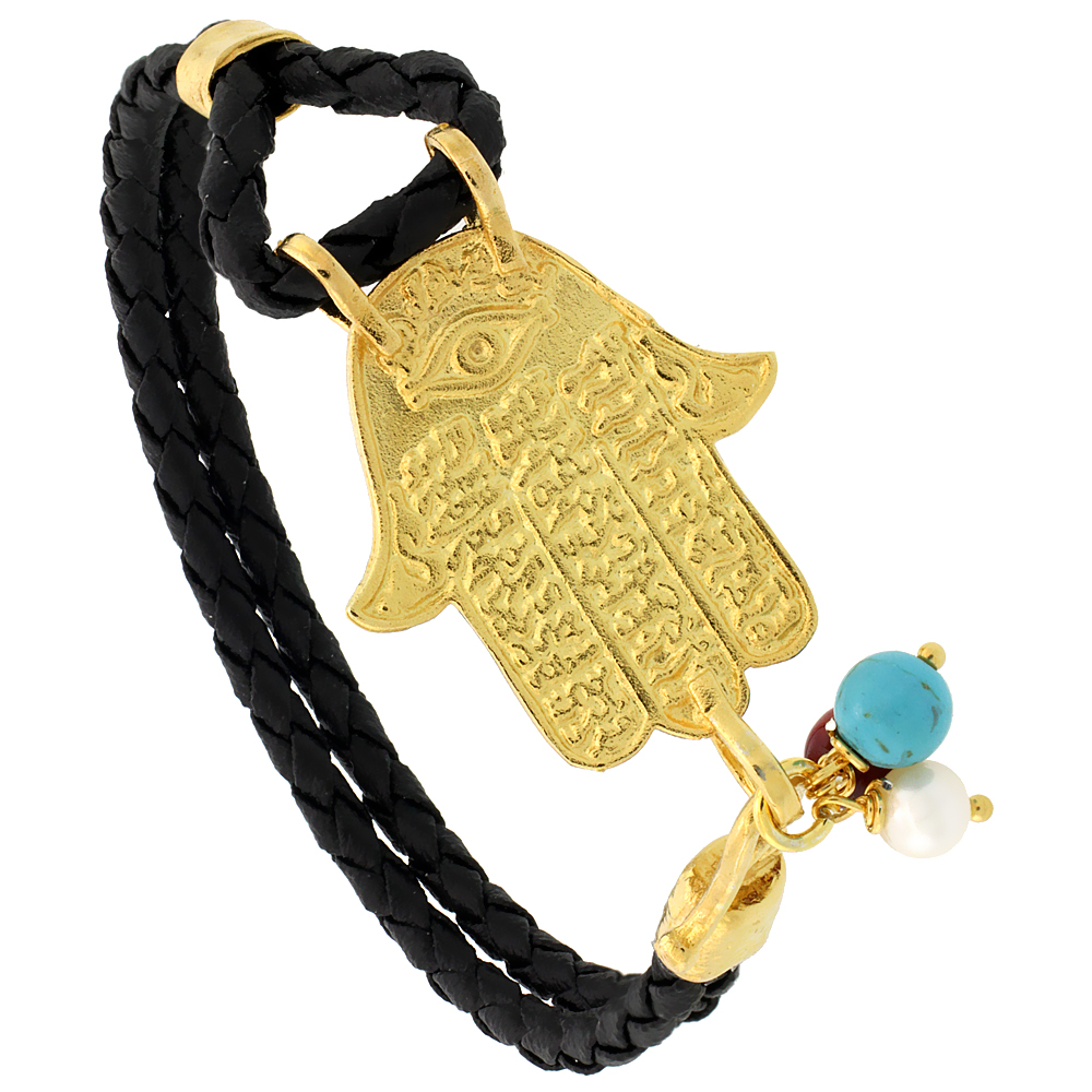 Sterling Silver Islamic HAND OF FATIMA Gold Plated Black Braided Leather Bracelet Tri-colored Beads, 1 1/8 inch wide, 7.25 inche