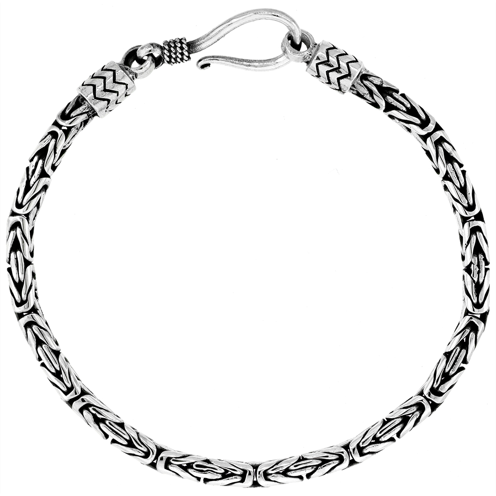 Sterling Silver 3mm Round Bali Byzantine Chain Necklaces & Bracelets Handmade Antiqued Finish Nickel Free 7 inch