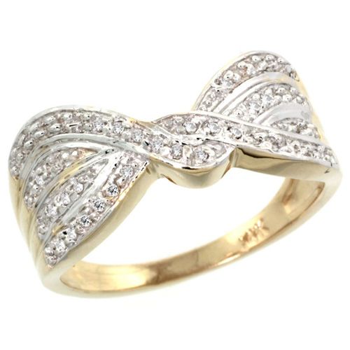 14k Gold Diamond Ribbon Ring w/ 0.15 Carat Brilliant Cut ( H-I Color; VS2-SI1 Clarity ) Diamonds, 3/8 in. (9.5mm) wide