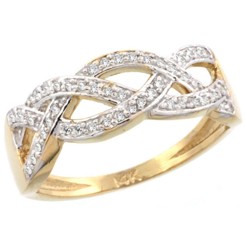 14k Gold Braided Knot Diamond Ring w/ 0.15 Carat Brilliant Cut ( H-I Color; VS2-SI1 Clarity ) Diamonds, 9/32 in. (7mm) wide