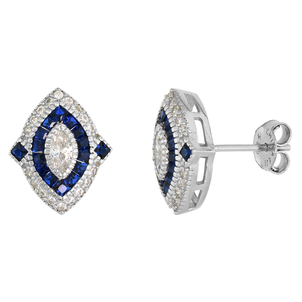 Sterling Silver Art Deco Stud Earrings Marquise CZ 6mm Synthetic Square Blue Sapphires 9/16 inch
