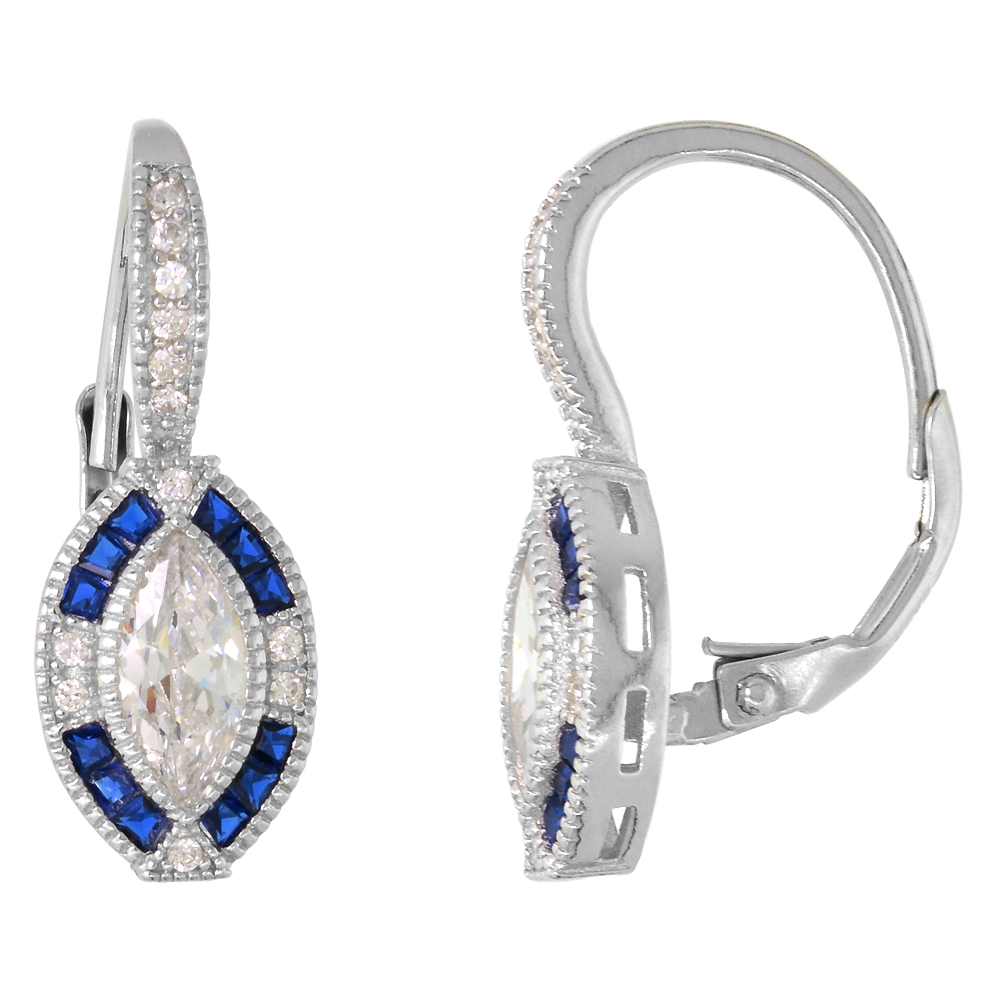 Sterling Silver Art Deco Lever Back Earrings Marquise CZ 9mm Synthetic Blue Sapphires 7/8 inch
