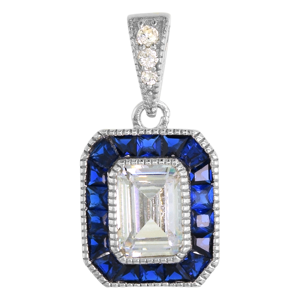 Sterling Silver Art Deco Pendant Emerald Cut CZ 7mm Synthetic Blue Sapphire, NO CHAIN