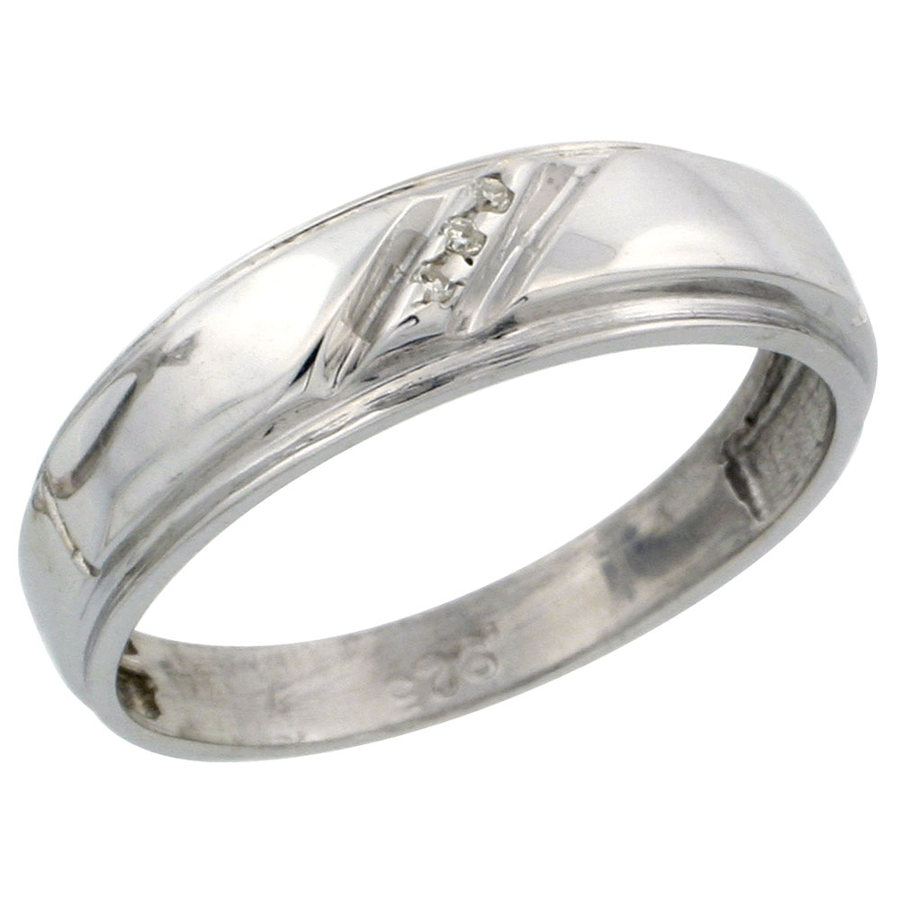 Sterling Silver Ladies' Diamond Wedding Band Rhodium finish, 7/32 inch wide
