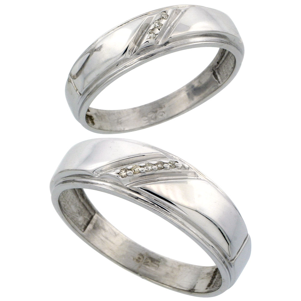 Sterling Silver Diamond 2 Piece Wedding Ring Set His 7mm & Hers 5.5mm Rhodium finish, Men's Size 8 to 14