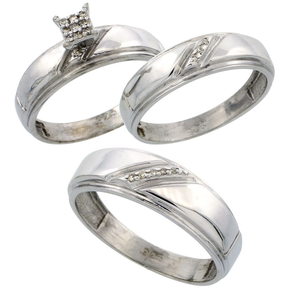 Sterling Silver Diamond Trio Wedding Ring Set His 7mm & Hers 5.5mm Rhodium finish, Men's Size 8 to 14