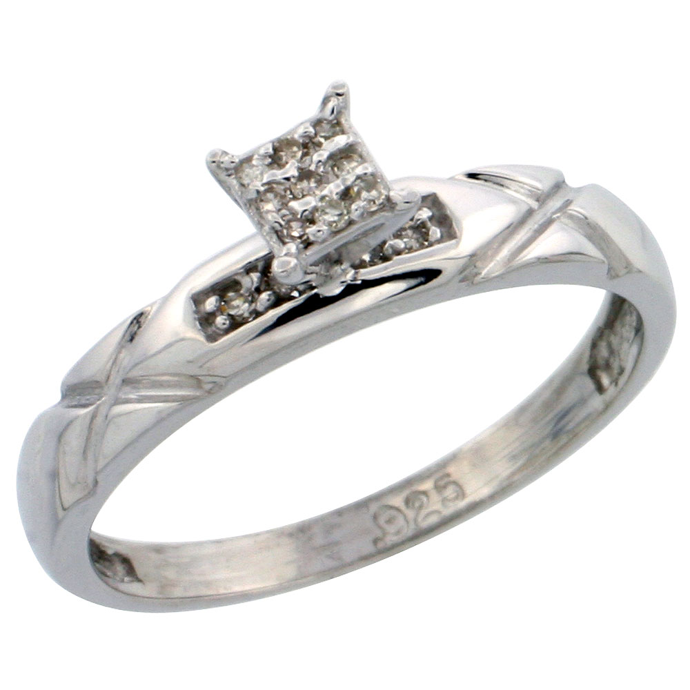 Sterling Silver Diamond Engagement Ring Rhodium finish, 1/8 inch wide