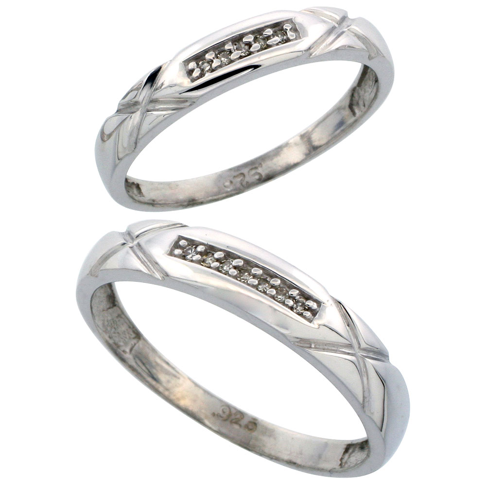 Sterling Silver Diamond 2 Piece Wedding Ring Set His 4mm & Hers 3.5mm Rhodium finish, Men's Size 8 to 14