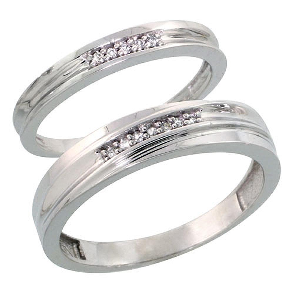 Sterling Silver Diamond 2 Piece Wedding Ring Set His 5mm & Hers 3mm Rhodium finish, Men's Size 8 to 14