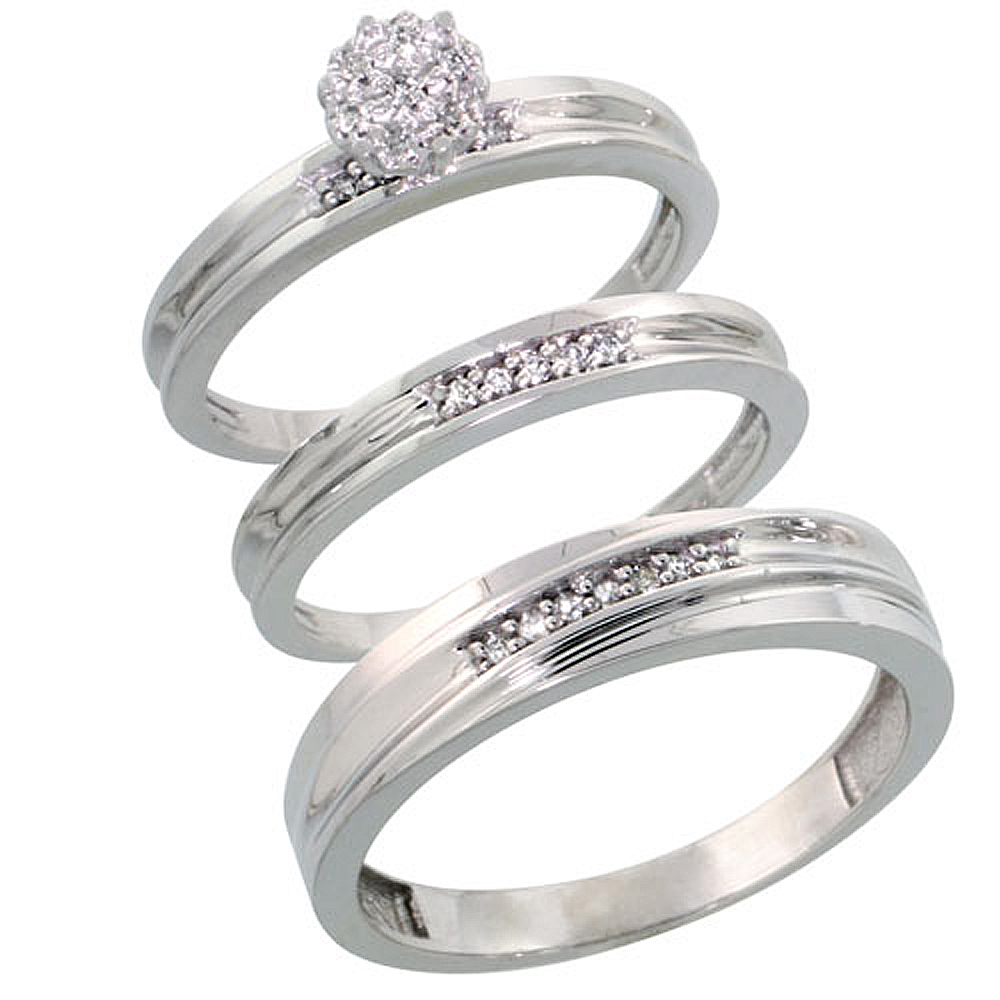 Sterling Silver Diamond Trio Wedding Ring Set His 5mm & Hers 3mm Rhodium finish, Men's Size 8 to 14