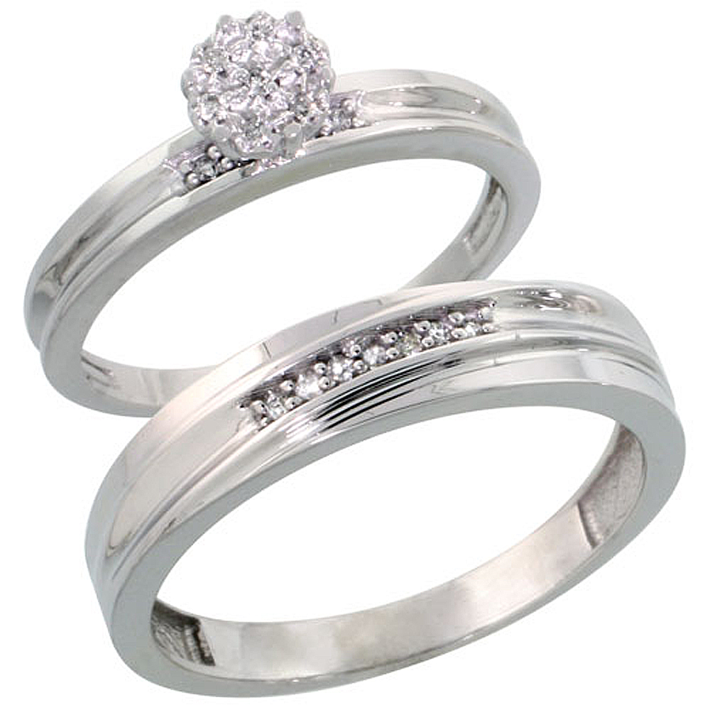 Sterling Silver 2-Piece Diamond wedding Engagement Ring Set for Him and Her Rhodium finish, 3mm & 5mm wide