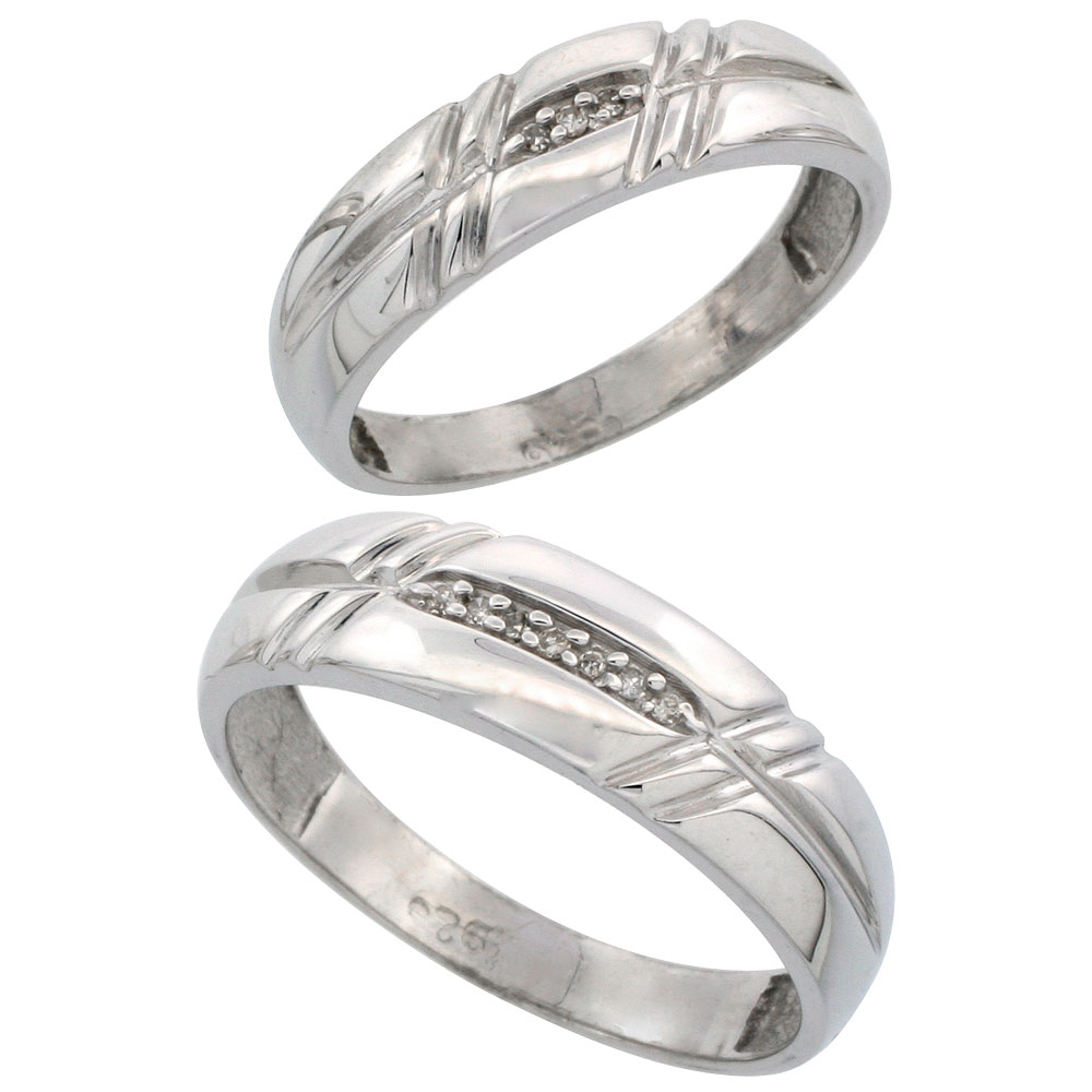 Sterling Silver Diamond 2 Piece Wedding Ring Set His 6mm & Hers 5.5mm Rhodium finish, Men's Size 8 to 14