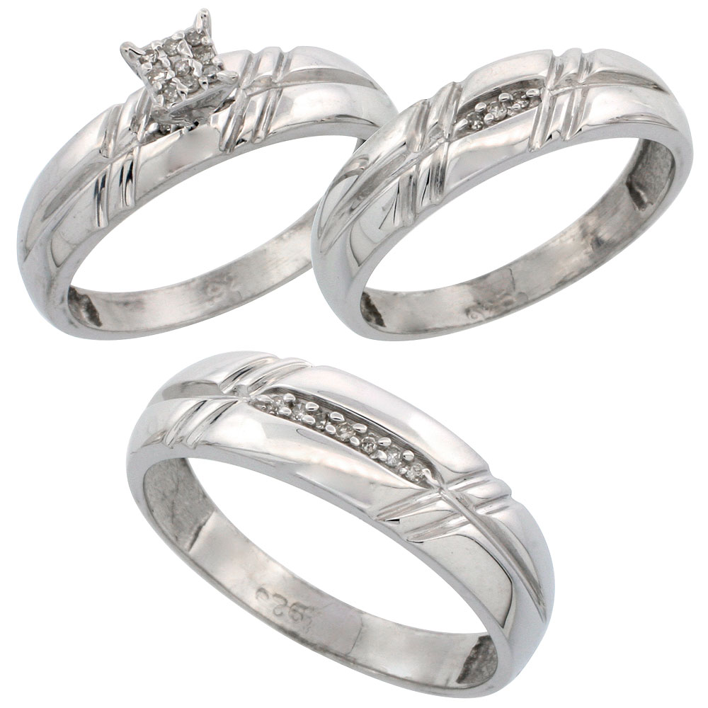 Sterling Silver Diamond Trio Wedding Ring Set His 6mm & Hers 5.5mm Rhodium finish, Men's Size 8 to 14