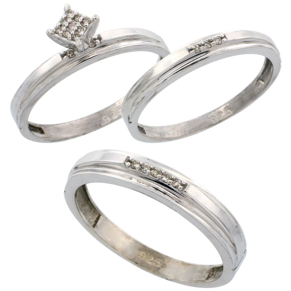 Sterling Silver Diamond Trio Wedding Ring Set His 4mm & Hers 3mm Rhodium finish, Men's Size 8 to 14