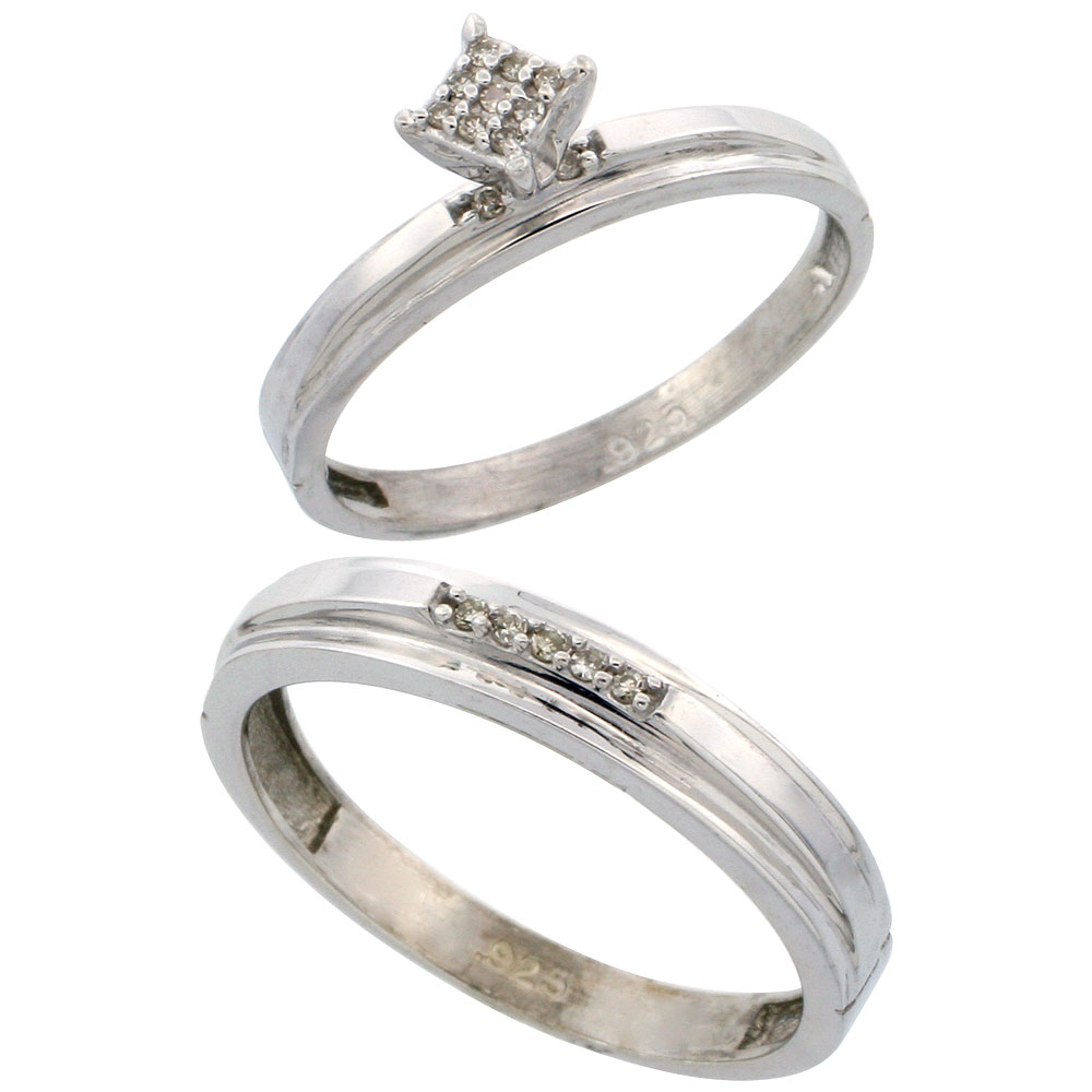 Sterling Silver 2-Piece Diamond wedding Engagement Ring Set for Him and Her Rhodium finish, 3mm & 4mm wide