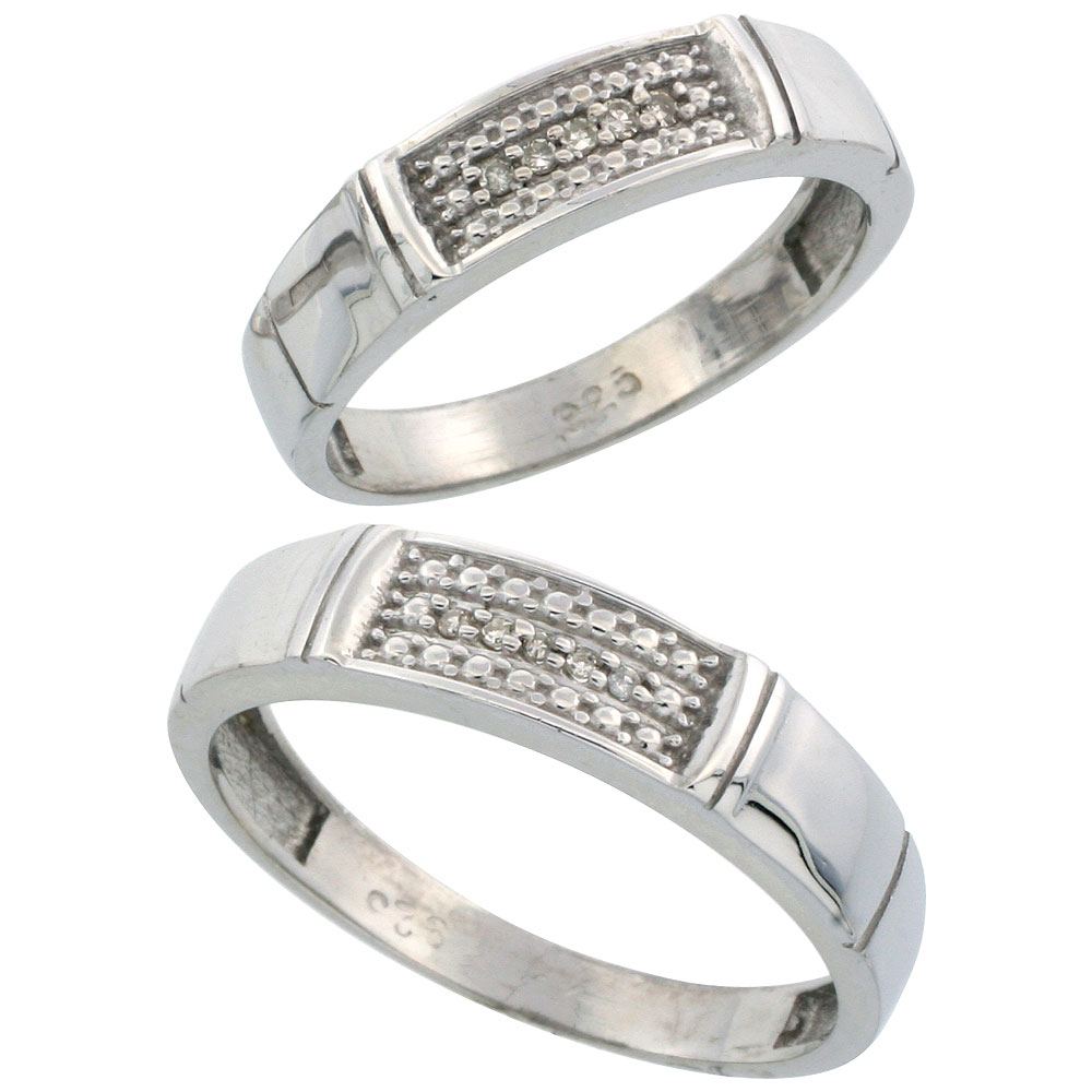 Sterling Silver Diamond 2 Piece Wedding Ring Set His 5mm & Hers 4.5mm Rhodium finish, Men's Size 8 to 14
