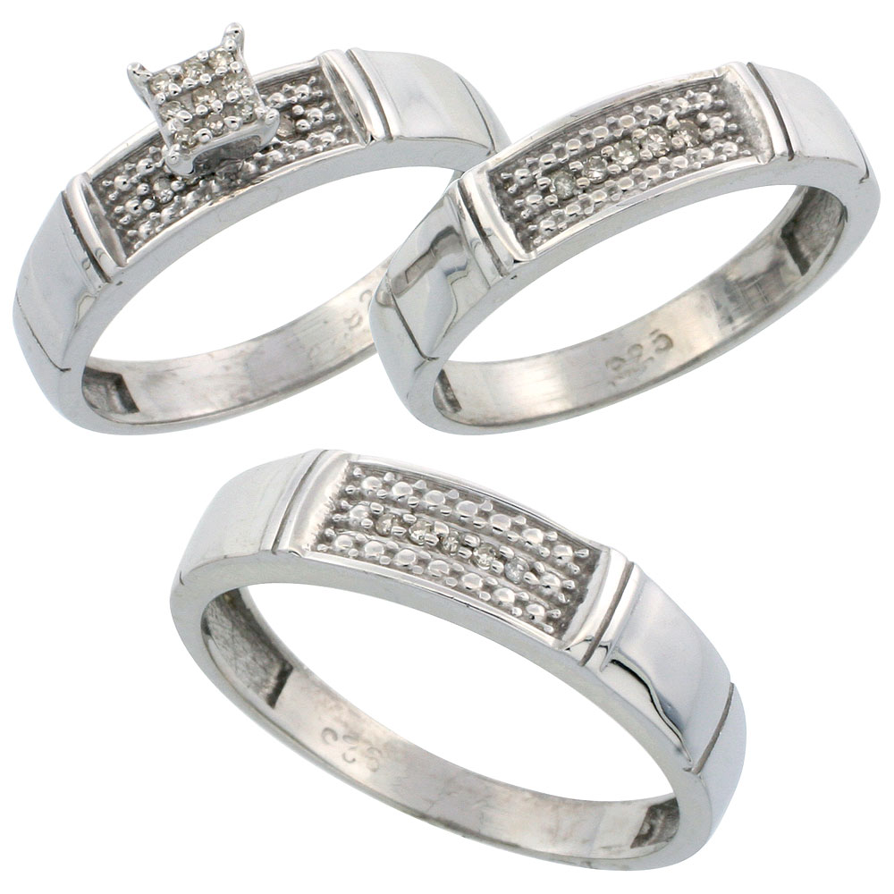 Sterling Silver Diamond Trio Wedding Ring Set His 5mm & Hers 4.5mm Rhodium finish, Men's Size 8 to 14