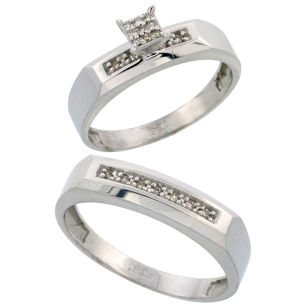 Sterling Silver 2-Piece Diamond wedding Engagement Ring Set for Him and Her Rhodium finish, 4.5mm & 5mm wide