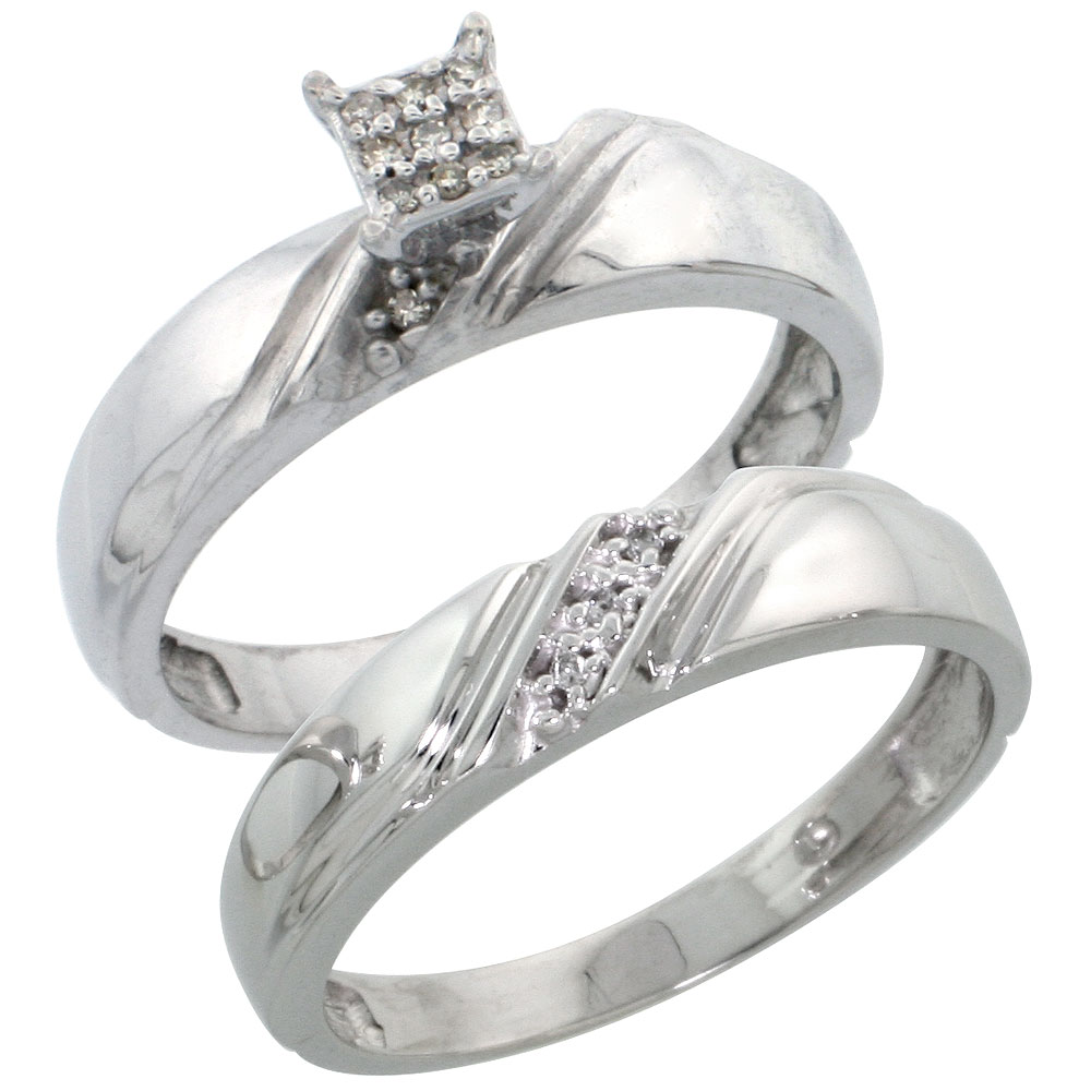 Sterling Silver Ladies? 2-Piece Diamond Engagement Wedding Ring Set Rhodium finish, 3/16 inch wide