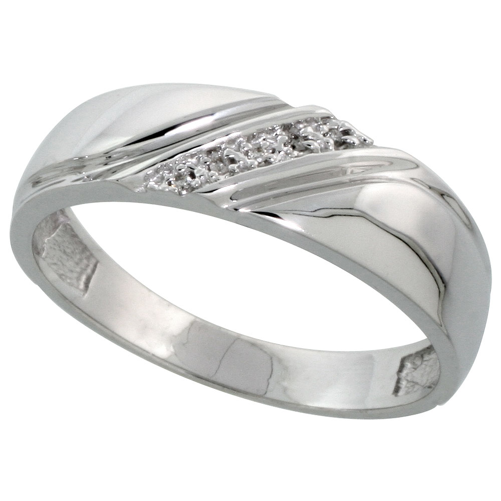 Sterling Silver Men's Diamond Wedding Band Rhodium finish, 1/4 inch wide