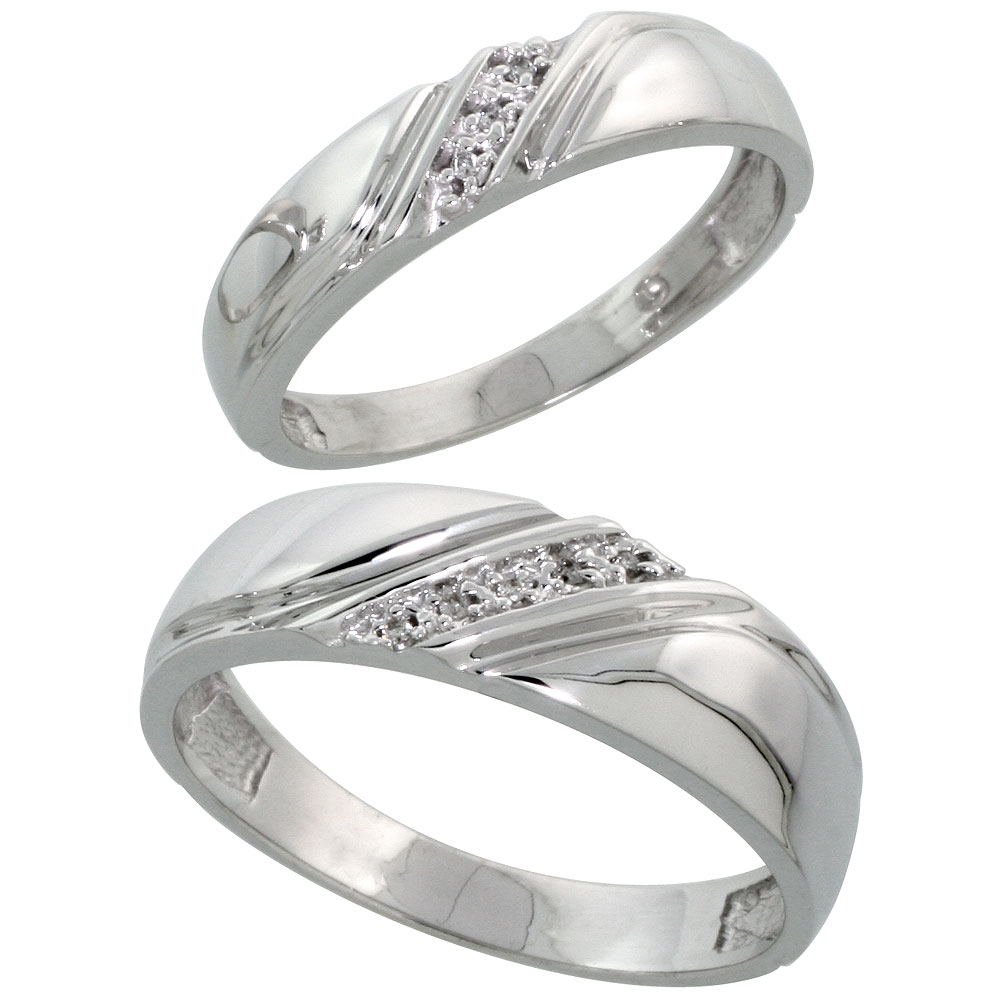 Sterling Silver Diamond 2 Piece Wedding Ring Set His 6mm & Hers 4.5mm Rhodium finish, Men's Size 8 to 14