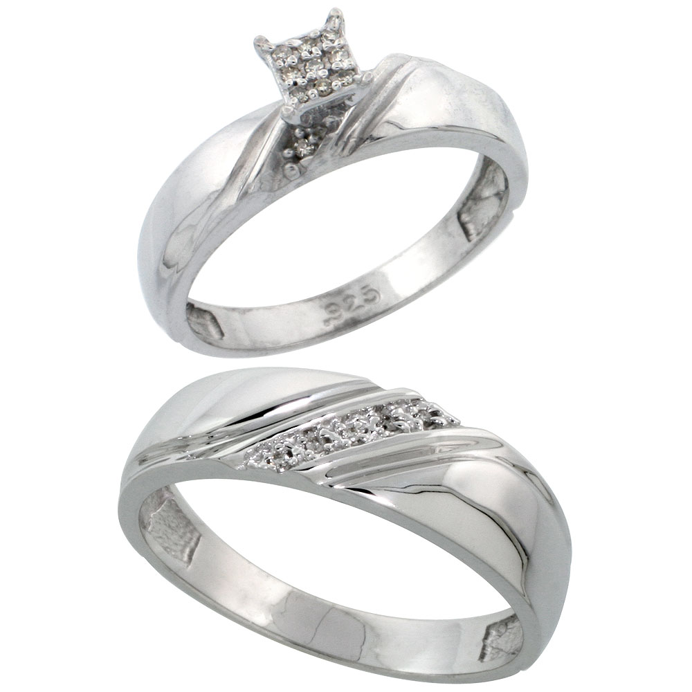 Sterling Silver 2-Piece Diamond wedding Engagement Ring Set for Him and Her Rhodium finish, 4.5mm & 6mm wide