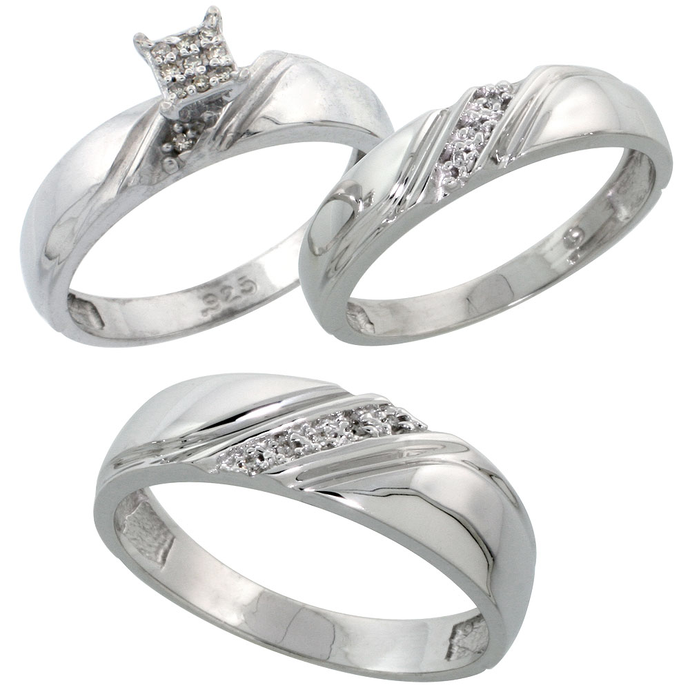 Sterling Silver Diamond Trio Wedding Ring Set His 6mm & Hers 4.5mm Rhodium finish, Men's Size 8 to 14