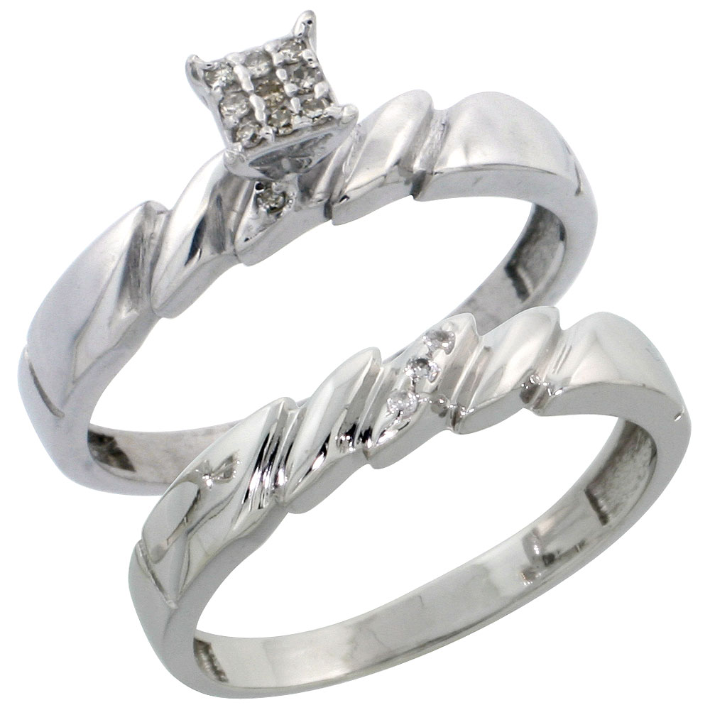 Sterling Silver Ladies? 2-Piece Diamond Engagement Wedding Ring Set Rhodium finish, 5/32 inch wide