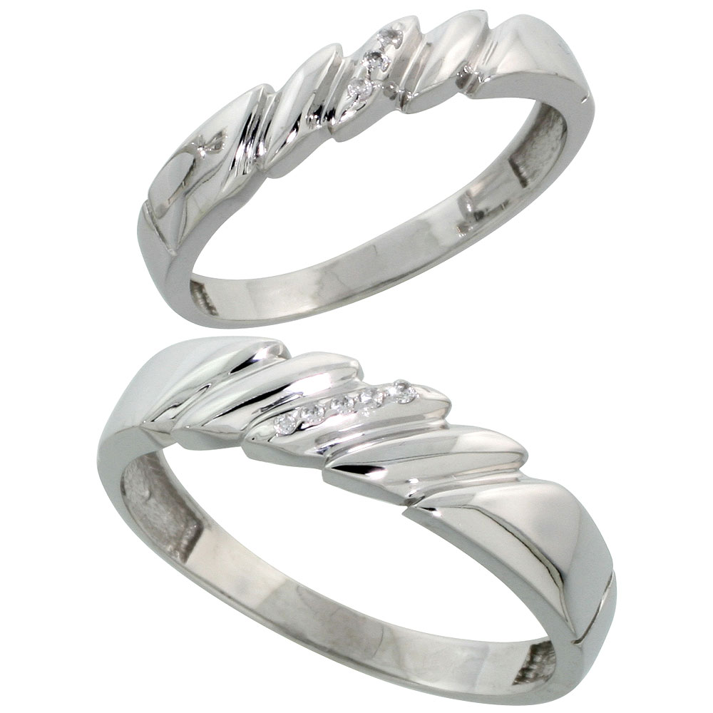 Sterling Silver Diamond 2 Piece Wedding Ring Set His 5mm & Hers 4mm Rhodium finish, Men's Size 8 to 14