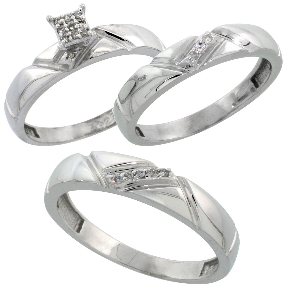 Sterling Silver Diamond Trio Wedding Ring Set His 4.5mm & Hers 4mm Rhodium finish, Men's Size 8 to 14